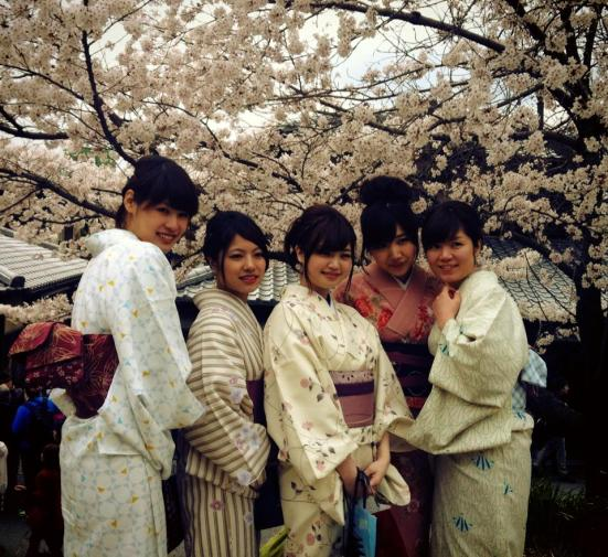Kyoto Girls dressed in kimonos