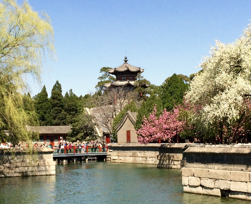 Summer Palace lake and blossoms
